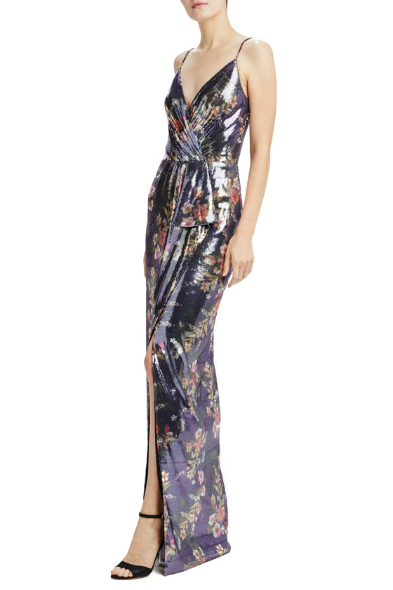sleeveless floral sequin gown with faux wrap front