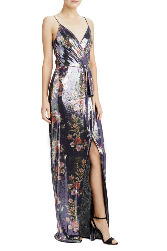 Resort 2020 sequin gown with spaghetti straps