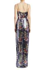 ML Monique Lhuillier v-neck sequin gown with slit