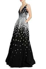 MLML black v-neck evening gown with silver