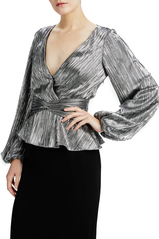 long sleeve metallic blouse with v neck