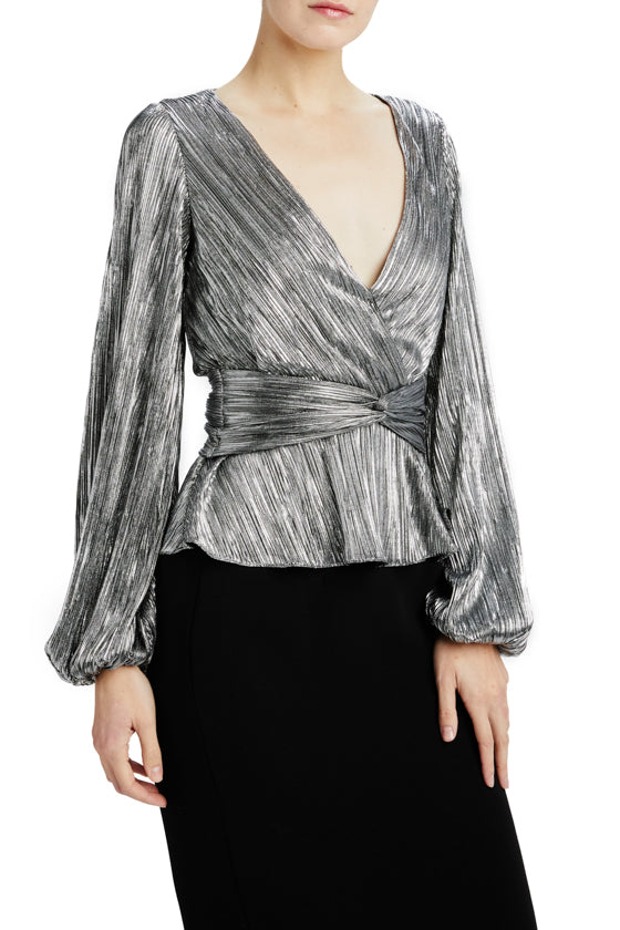 ML Monique Lhuillier silver v-neck blouse long sleeve