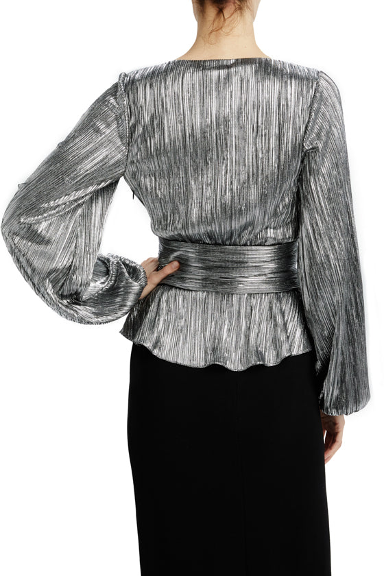 Silver long sleeve blouse with ruched waist detail