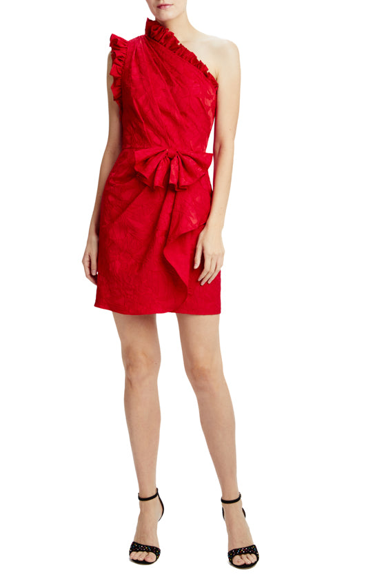 one shoulder dress with ruffle trim detail