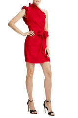 ML Monique lhuillier red cocktail dress with bow