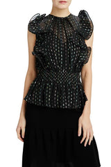 black shimmer sleeveless holiday blouse