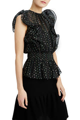 ML Monique Lhuillier black sleeveless blouse with smocking