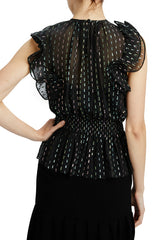 MLML black blouse with horsehair detail at sleeve
