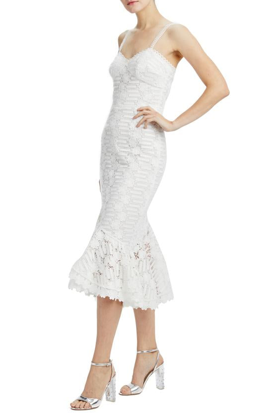 Ruffle white lace midi dress ML Monique Lhuillier