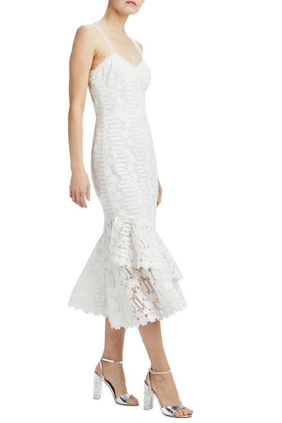 Sleeveless lace midi dress with ties and ruffle hem