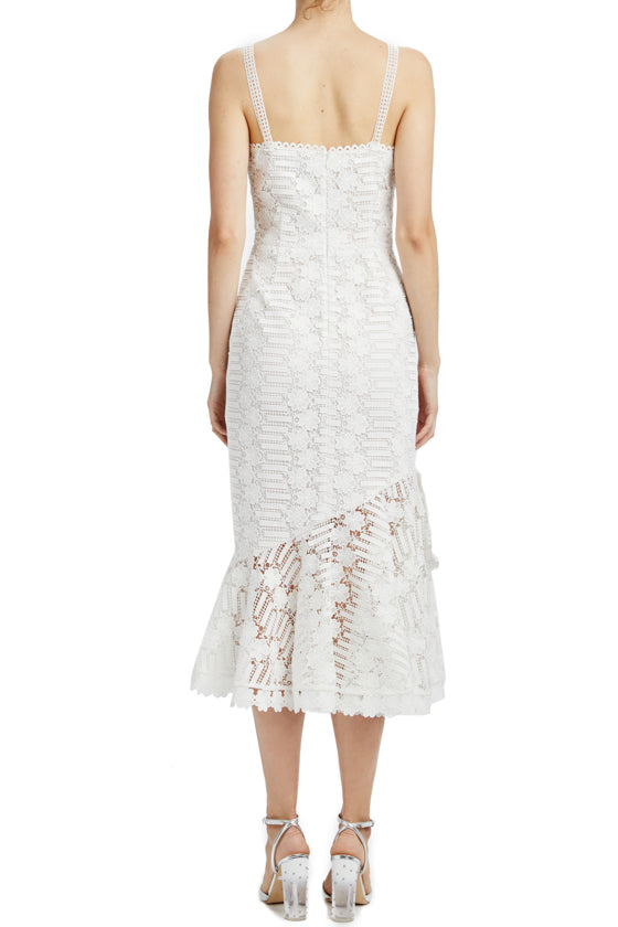 Sleeveless lace midi dress with ties and ruffle hem MLML