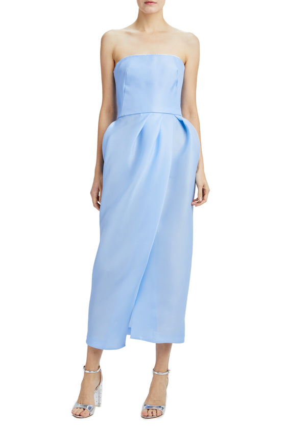 Strapless tea length dress with tulip skirt