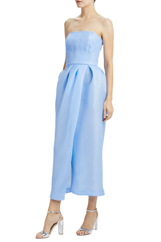 sky blue gazar strapless dress with slit