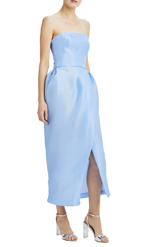 strapless tea length dress with tulip skirt and slit