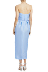 Blue strapless gazar dress with front slit