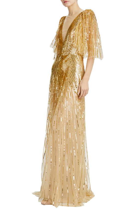 antique gold sequin v-neck evening gown