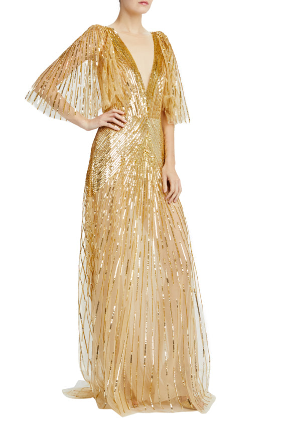 Gold embroidered tulle v-neck gown