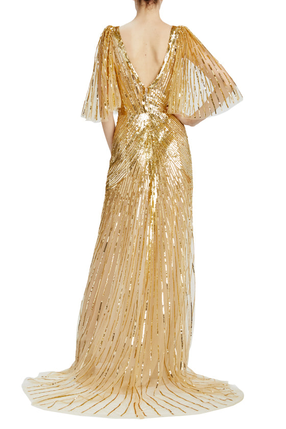 Gold sequin v-neck evening gown with flutter sleeves