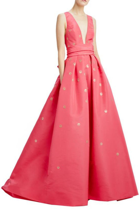 Strawberry deep v-neck ball gown with back bow sash