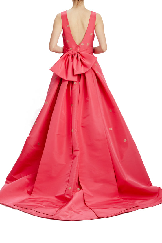 V-neck ball gown with back bow sash and pockets