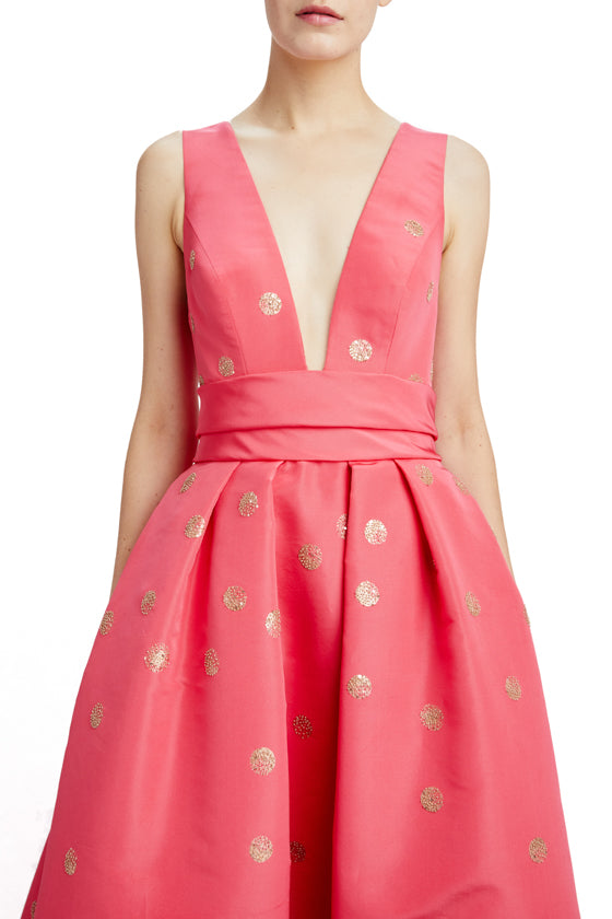 Monique Lhuillier strawberry gown with gold polka dots