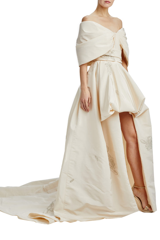 Off The Shoulder Asymmetric Gown