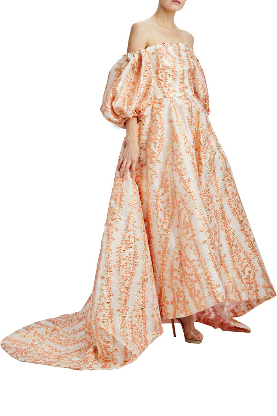 Mimosa Jacquard off the shoulder high low gown