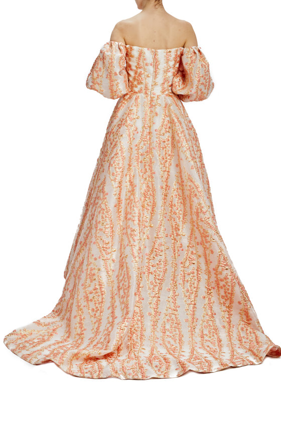 Spring 2020 Off the shoulder evening gown with puff sleeves
