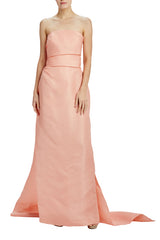Salmon column gown with train