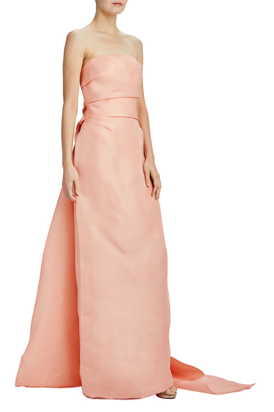 Monique Lhuillier strapless gazar evening gown
