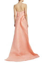 Gazar strapless gown with train