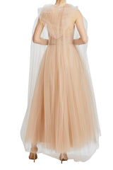 Monique Lhuillier cameo tulle midi cape