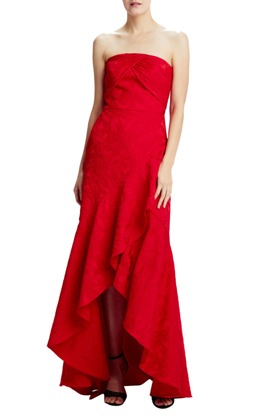strapless lipstick red evening gown