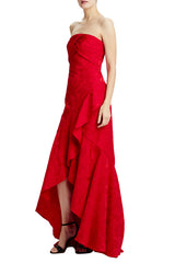 Strapless tucked front gown with cutaway front hem