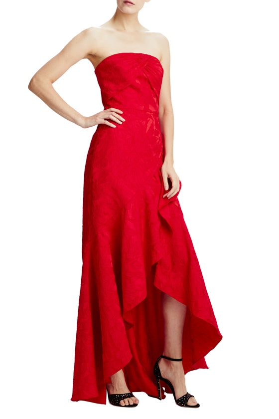 ML Monique Lhuillier red even gown strapless