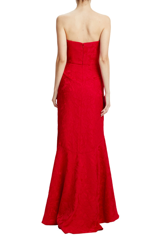 MLML lipstick red strapless gown with cutaway front hem