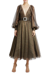v-neck midi dress with belt and bishop sleeves