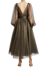 Bronze and rose midi dress with belt v-back