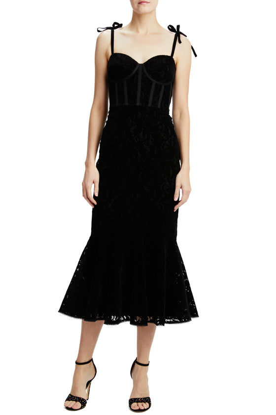 ml monique lhuillier velvet midi dress with tie straps