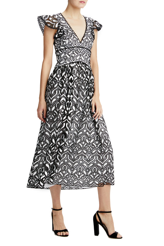 ML Monique Lhuillier short sleeve embroidered lace midi dress