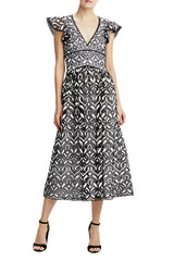 mlml black and white lace midi dress