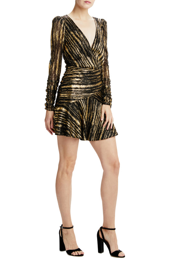 Long sleeve black and gold holiday cocktail dress