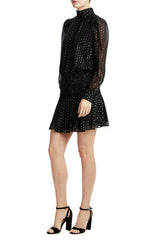 Black long sleeve holiday cocktail dress