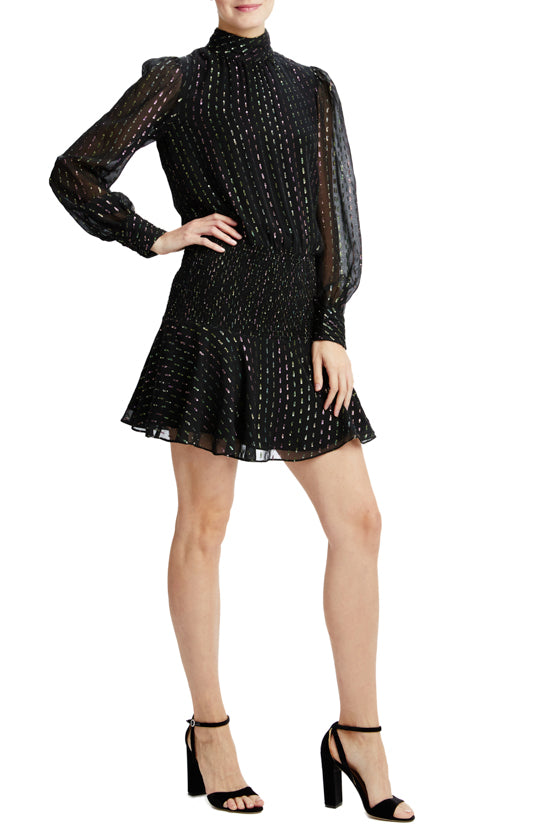 Jet multi long sleeve dress with smocked waist