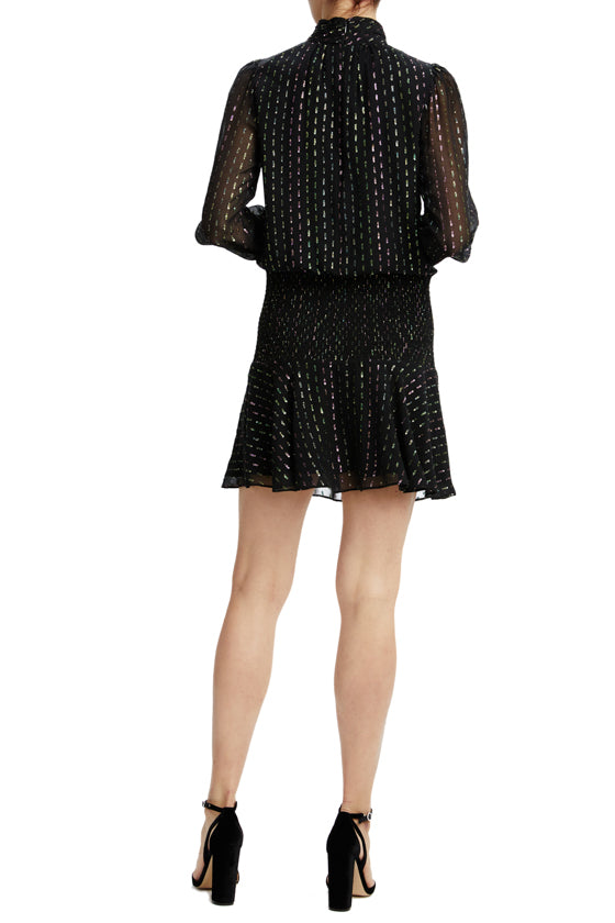 black shimmer long sleeve holiday dress