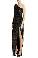 Black velvet and gold sequin column gown with front slit
