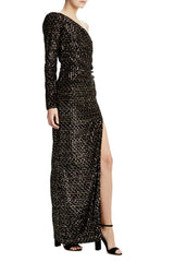 MLML One shoulder long sleeve velvet and sequin gown