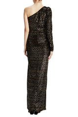 Black velvet column gown with slit and gold sequins