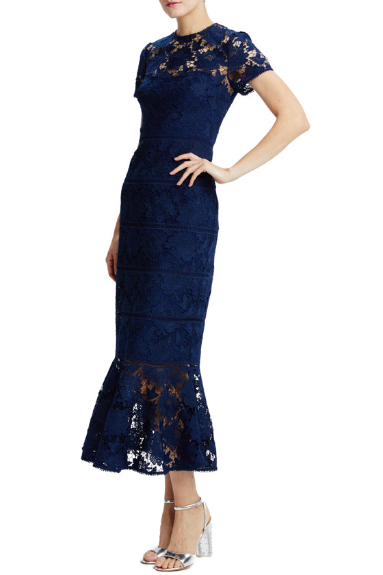 Navy short sleeve lace midi dress with ruffles