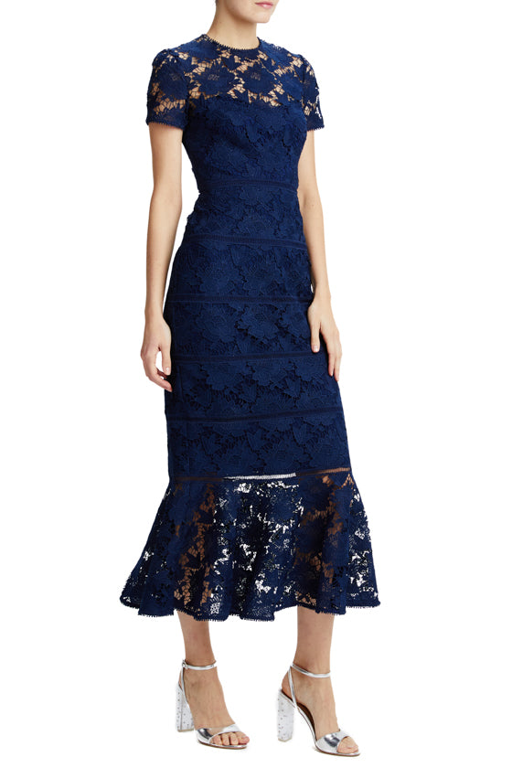 ML Monique Lhuillier lace midi dress blue